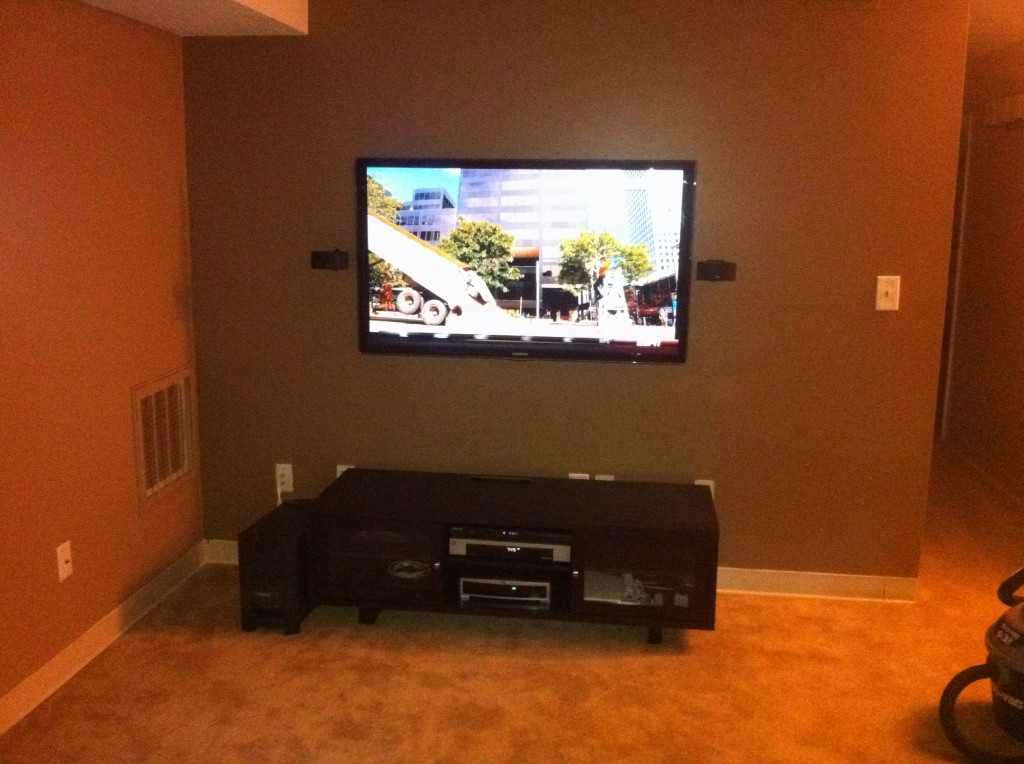 ...  Home Theater  Wall Mounted 55in Samsung LED HDTV  Stoneham, MA